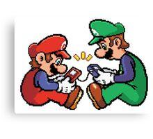 mario and luigi pixel Canvas Print