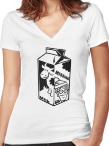 Where's Wally Milk Carton Women's Fitted V-Neck T-Shirt