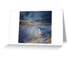 """I sometimes run and chase the moon and think of you"" Greeting Card"
