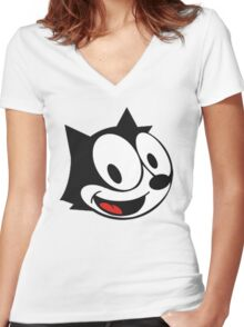 smiling felix the cat Women's Fitted V-Neck T-Shirt