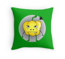 Angry yellow pepper cartoon Throw Pillow