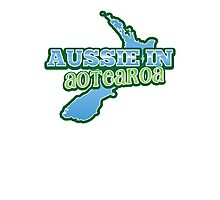 Aussie in AOTEAROA with NZ map Photographic Print