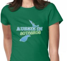 Aussie in AOTEAROA with NZ map Womens Fitted T-Shirt
