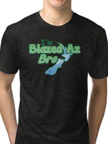 Blazed az Bro New Zealand kiwi map funny Tri-blend T-Shirt