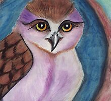 Purple Owl in a Hollow by Fiona Lokot