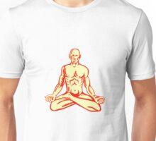 Man Lotus Position Asana Woodcut Unisex T-Shirt
