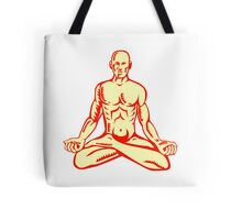 Man Lotus Position Asana Woodcut Tote Bag