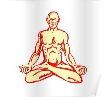 Man Lotus Position Asana Woodcut Poster