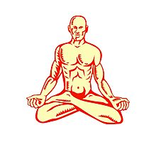 Man Lotus Position Asana Woodcut Photographic Print