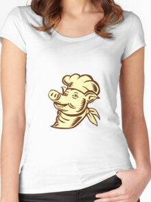 Pig Chef Cook Head Looking Up Woodcut Women's Fitted Scoop T-Shirt