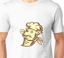 Pig Chef Cook Head Looking Up Woodcut Unisex T-Shirt