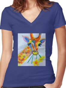 Giraffe daffodil fields  Women's Fitted V-Neck T-Shirt