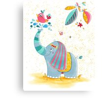 The happy elephant Canvas Print