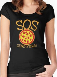 SOS send pizza Women's Fitted Scoop T-Shirt