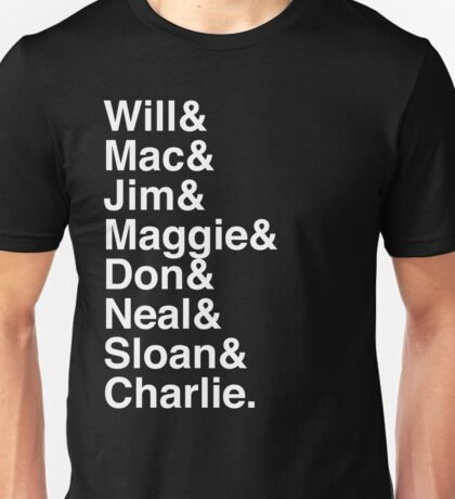 The Newsroom - First Names (White text) Unisex T-Shirt
