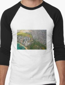 Areal view of Honolulu, OAHU HAWAII Men's Baseball ¾ T-Shirt