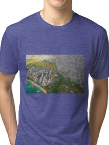 Areal view of Honolulu, OAHU HAWAII Tri-blend T-Shirt