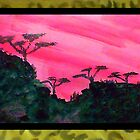 Africa Series (WITH FRAME),, hills with trees in beautiful pink,red sunset, watercolor by Anna  Lewis