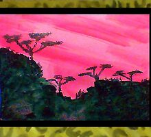 Africa Series (WITH FRAME),, hills with trees in beautiful pink,red sunset, watercolor by Anna  Lewis, blind artist