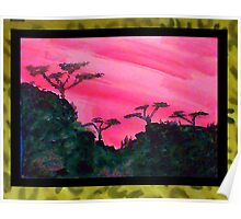 Africa Series (WITH FRAME),, hills with trees in beautiful pink,red sunset, watercolor Poster