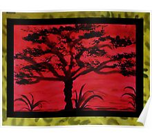 Africa Series (WITH FRAME), Tall tree, watercolor Poster