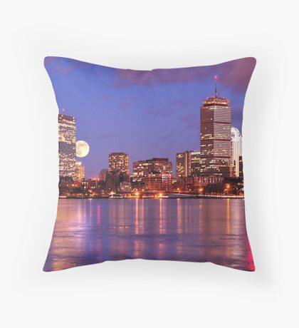 Moonlit Boston on the Charles Throw Pillow