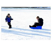 On the Pond (Whose Sled Is It Anyway?), Reykjavik (Iceland) Photographic Print