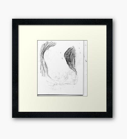 copy sculpture foot 3 -(230511)- pencil/A4 drawing pad Framed Print