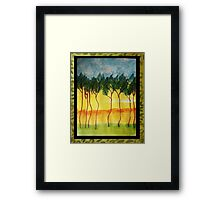 Africa Series (WITH FRAME0,  line of wild trees, watercolor Framed Print