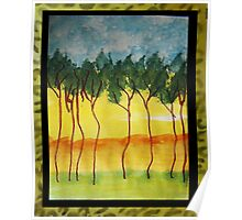 Africa Series (WITH FRAME0,  line of wild trees, watercolor Poster