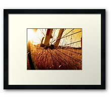Cycling In A Wheat Field Framed Print