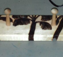 The Jewelry Rack With Wood Burned Palm Trees by Bearie23