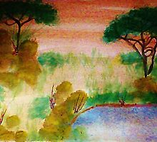Africa Series,no frame, yet, the watering hole, watercolor by Anna  Lewis