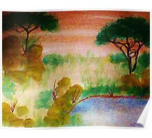 Africa Series,no frame, yet, the watering hole, watercolor Poster