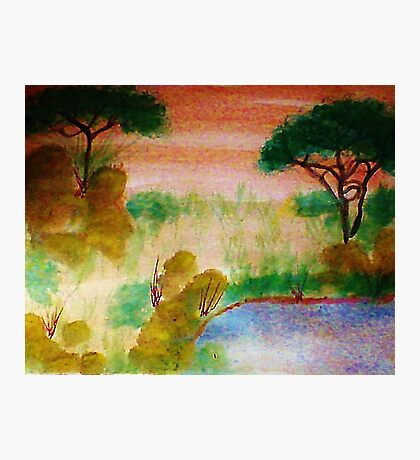 Africa Series,no frame, yet, the watering hole, watercolor Photographic Print