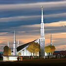 Boise Temple Cloudy Sunset 20x30 by Ken Fortie