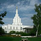Idaho Falls Temple on a Summer Day 20x24 by Ken Fortie