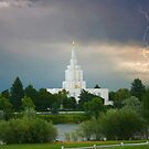 Idaho Falls Temple Summer Storm 20x30 by Ken Fortie