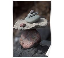 Peaceful Rocks Stacked By The Lake Poster