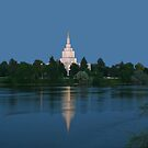 Idaho Falls Temple Morning Reflection 20x30 by Ken Fortie