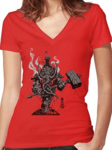 The Game of Kings, Wave One: The Black King's Rook Women's Fitted V-Neck T-Shirt