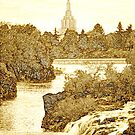 Idaho Falls Temple Sepia 20x24 by Ken Fortie