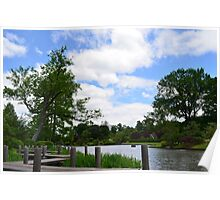 Wooden dock by the Japanese Garden Poster