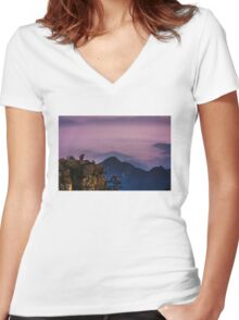 Monkey on hill Women's Fitted V-Neck T-Shirt