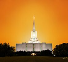 Jordan River Temple Orange Sunset 20x24 by Ken Fortie