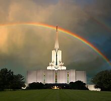 Jordan River Temple Under the Rainbow 20x30 by Ken Fortie