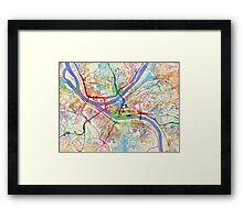 Pittsburgh Pennsylvania Street Map Framed Print