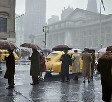 1943 Mar New York. Forty-second Street and Fifth Avenue on a rainy day.  by Marie-Lou Chatel