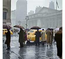 1943 Mar New York. Forty-second Street and Fifth Avenue on a rainy day.  Photographic Print