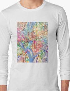 Washington DC Street Map Long Sleeve T-Shirt